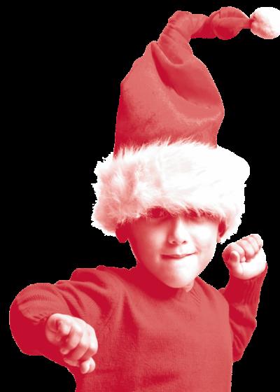 Enfant avec un chapeau de Père-Noël